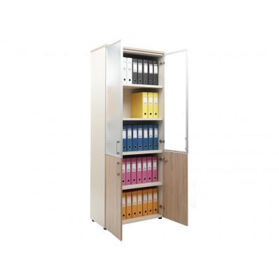 Шкаф NW 2080/2G со стеклом вяз натуральный / бежевый
